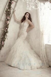 NWT Size 10 Christina Wu 15603 Ivory/silver mermaid rhinestone formal bridal gow