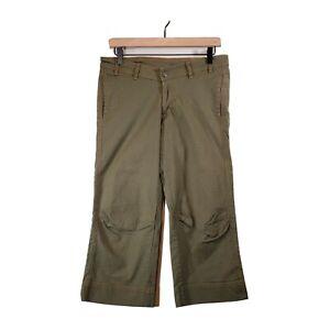 USA PrAna Women's Medium (M) Olive Green Capri Crops Athleisure Casual Walking