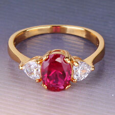 Love July Birthstone Angel Design Yellow Gold Filled Red Ruby Engagement Ring