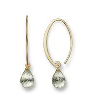 14K Yellow Gold Simple Sweep Earrings with Prasiolite NIB