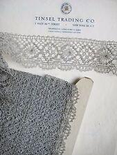 "1 yard Vintage Metallic Silver Scallop Lace Trim UNUSED 2 1/4"""