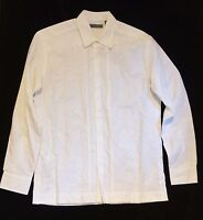 Cubavera Men's Long Sleeve Embroidered Button Up Shirt Linen/Cotton Blend Sz S