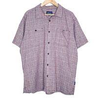 Patagonia Plaid Mens Purple Button Front Short Sleeve Shirt Size XL