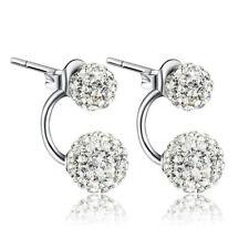 2PCS Women Lady Jewelry Silver Double Beaded Rhinestone Crystal Stud Earrings KL