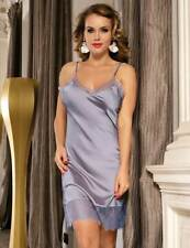 LOVELY SILKY FULL SLIP WITH DEEP LACE HEM  -  SIZES 8-22 - PEWTER