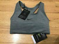 Nike Swoosh Womens Size XS Gray Medium-Support 1-Piece Padded Sports Bra $38 NWT