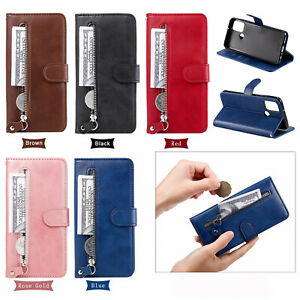 Solid Color Flip Zipper Leather Card Wallet Stand Phone Case For Various Covers