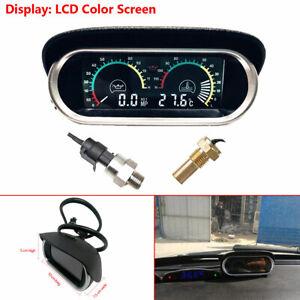 LCD Digital  Water Temperature Oil Pressure Gauge Panel W/ Sensor For Car Truck