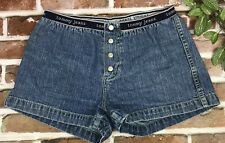 Womens Vintage Tommy Hilfiger Denim Jean Shorts Button Up Spell Out Waistband M