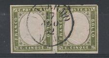 FRANCOBOLLI 1862 SARDEGNA COPPIA 5 C. VERDE OLIVA PALERMO 17/8 Z/4073