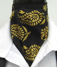 Mens Black & Yellow Paisley Design Cotton Ascot Cravat & Pocket Square - UK Made