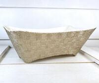 Shawnee Elegance MCM Pottery Vase Planter 1410 Golden Pink Glaze Basket Weave IG