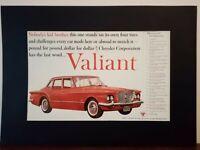 Pubblicità originale Valiant del 1959 da rivista in passepartout