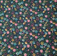 Country Florals BTY Unbranded Calico Flowers Pink Yellow Teal Green on Navy Blue