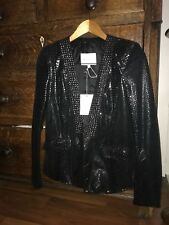 Pierre BALMAIN - Black Snakeskin Effect Studded Leather Jacket - IT 44/ US 8