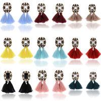 1 Pair Women Fashion Jewelry Rhinestone Ear Stud Earrings Crystal Tassel Gift