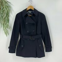 Brooks Brothers Womens Belted Trench Jacket Size 2 XS Black Double Breasted