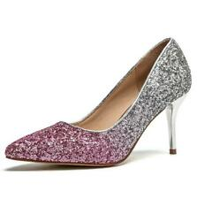 Ladies Womens Glitter Party Evening Wedding High Heels Bridal Court Shoes Size