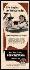 1950 PENNSYLVANIA Motor Oil - Cute Puppy Dog In Convertible VINTAGE AD