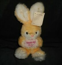 VINTAGE MTY INTERNATIONAL YELLOW BUNNY RABBIT TOUCH ME STUFFED ANIMAL PLUSH TOY