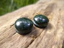 JADE CABOCHON w/ groove 12mm, macrame wire wrap untreated stone green round