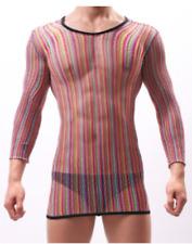 Mens Colour String Mesh Fishnet Long Sleeve Top Fetish Gay Full Body Stocking