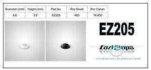 8.0mm x 2.2mm RUBBER BUMPER FEET Sticky Bumpons Polyurethane Clear Black EZ205