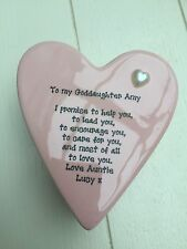 Shabby Personalised Chic Goddaughter Christening Ceramic Heart Trinket box