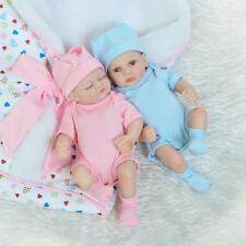 "10"" Preemie Bebes Reborn Twins Boy & Girl Doll Silicone Lifelike Baby Dolls Gift"