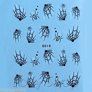 Nail Art Water Decals Stickers Halloween Black Spider Spiders web Gel Polish