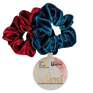 Scunci Scrunchie - Velvet Burgundy Ruby Red/Navy Blue 2pk - No Damage Material