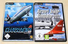 2 PC SPIELE SAMMLUNG AIRPORT TOWER SIMULATOR 2012 & FLUGHAFEN MANAGER 2