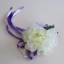 2pcs Bridal Car Flower Ribbon Bows Car Mirror Chair Party Decorations Purple