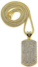 "Mens 14K Gold GP Iced CZ Dog Tag Pendant Necklace w 36"" Franco Snake Chain"