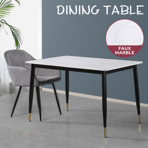Levede Dining Table Marble Top Faux Modern Steel Leg Dining Room Furniture White