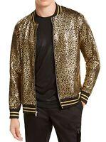 INC Mens Varsity Track Jacket Black Gold Large L Cheetah Metallic Foil $75 182
