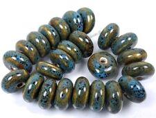 17-18mm Blue Black Raku Porcelain Barrel Beads (20)