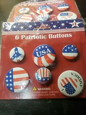 Lot of 10 packs of 6 Patriotic Buttons per Card