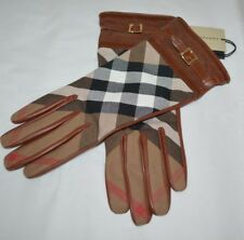 $600 Burberry Saddle Brown House Check Nicola Touch Gloves Size 7