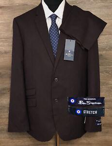 NWT Ben Sherman Stretch Men's Dark Purple Two-Button Business Suit NEW 44R 38W