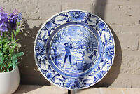 Vintage DELFT blue white pottery plate marked winter season