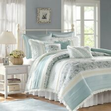 New King Size Dawn 9 Piece Cotton Percale Comforter Set Cotton Blue Madison Park