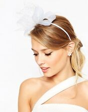 WHITE Headband Bow Fascinator Wedding Races Headpiece Spring Racing Lace Net Cup