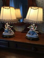 Vintage Brass Table Lamps PAIR with Porcelain Figurine Victorian style RARE