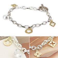 Creative Nice Lady Lucky Clover Flower Zircon Bracelet Jewelry Gif NOU