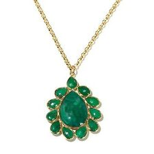 "polished 16"" pear Drop Necklace Hsn Rarities Carol Brodie Green Corundum Vermeil"