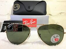 NEW AUTHENTIC RAY BAN AVIATOR RB3025 001/58 58MM POLARIZED GREEN LENS GOLD FRAME