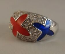 N  Ring   [ 925 Sterling Silver & Clear Cubic Zircon ] Red and  Blue