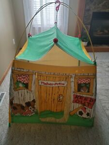 Vintage Fisher Price Pop Up Tent Keep Out Playhouse 1987 Kids Toy 3 x 3 Hut