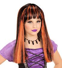Girls Perruque Sorcière Long Noir et Orange Halloween Déguisement des Enfants